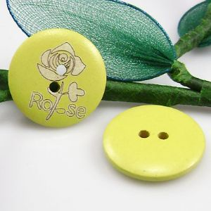 Wood button, Light Yellow, Diameter 25mm, 2 buttons, (XMK331)